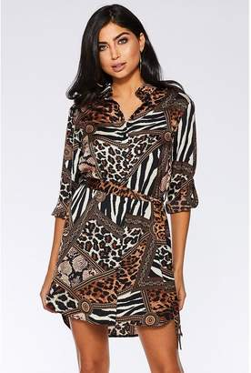 Quiz Brown and Black Satin Animal Print Shirt Dress