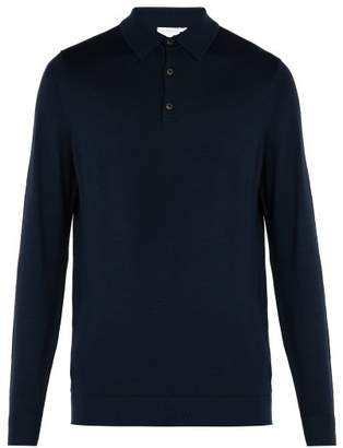 Sunspel Long Sleeved Merino Wool Polo Shirt - Mens - Navy