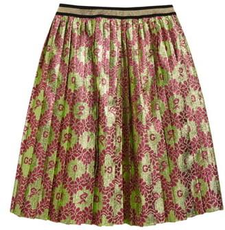 Gucci Pleated Logo Jacquard Skirt