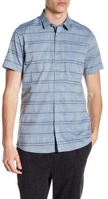 Indigo Star George Short Sleeve Woven Jacquard Stripe Tailored Fit Shirt