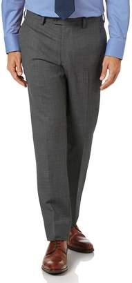 Charles Tyrwhitt Light Grey Slim Fit Sharkskin Travel Suit Wool Pants Size W32 L38