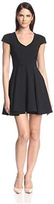 Society New York Women's Shirred Cap Sleeve Fit-and-Flare Dress