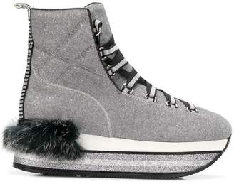Hogan Maxi H222 rabbit fur ankle boots
