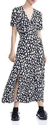 Maje Riline Printed Midi Dress