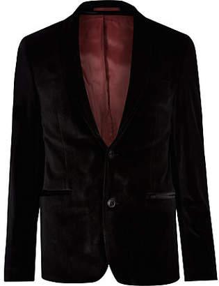 River Island Black skinny fit velvet long sleeve blazer