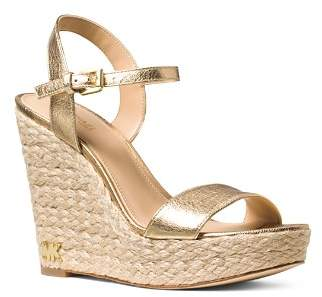 MICHAEL Michael Kors Women's Jill Leather Espadrille Platform Wedge Sandals