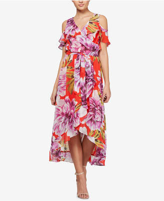 Sl Fashions Floral-Print Cold-Shoulder Faux-Wrap Dress