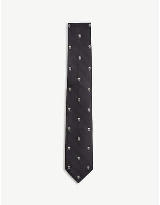 Alexander McQueen Prince of Wales & skulls silk tie
