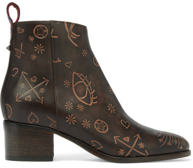 Valentino - Embossed Leather Ankle Boots - Dark brown