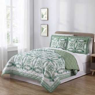 Mainstays Traditional Wedding Ring Patterned 3 Piece King Quilt Set, Green