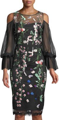 Jax Floral-Embroidered Cold-Shoulder Illusion Dress