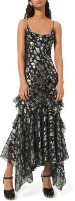 Michael Kors Python-Print Metallic Chiffon Dress