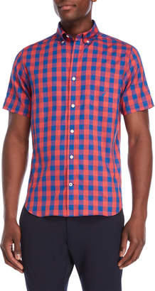 Nautica Slim Fit Short Sleeve Plaid Shirt