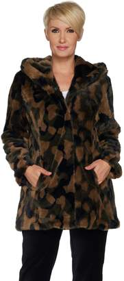 Isaac Mizrahi Live! SOHO Camo Faux Fur Hooded Coat
