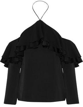 Emilio Pucci Cold-Shoulder Ruffled Satin-Crepe Top