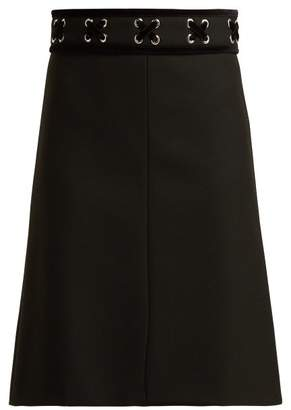RED Valentino Laced Velvet Twill Skirt - Womens - Black