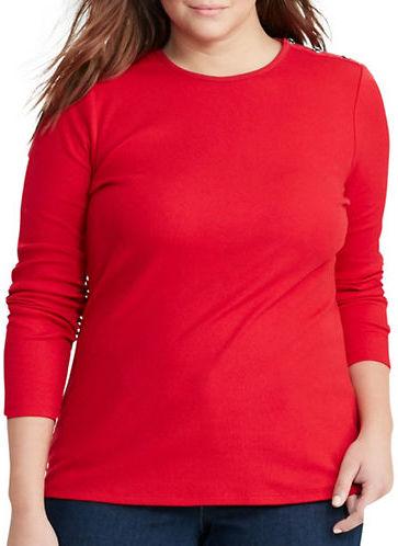 Lauren Ralph LaurenLauren Ralph Lauren Plus Button-Shoulder Cotton Tee