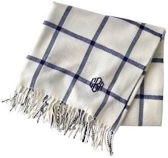 Mark And Graham Windowpane Throw Blanket with Fringe
