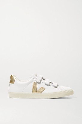 Veja Net Sustain 3-lock Logo Metallic-trimmed Leather Sneakers - White