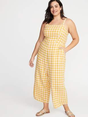 Old Navy Gingham Linen-Blend Cropped Plus-Size Jumpsuit