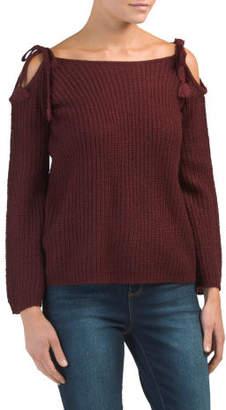 Juniors Mellie Tie Sleeve Sweater