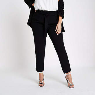 River Island Plus black soft tapered pants