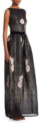 Talbot Runhof Floral Metallic Pocket Gown