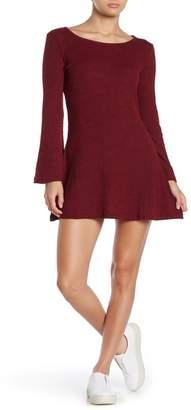 Angie Rib Knit Flare Long Sleeve Dress