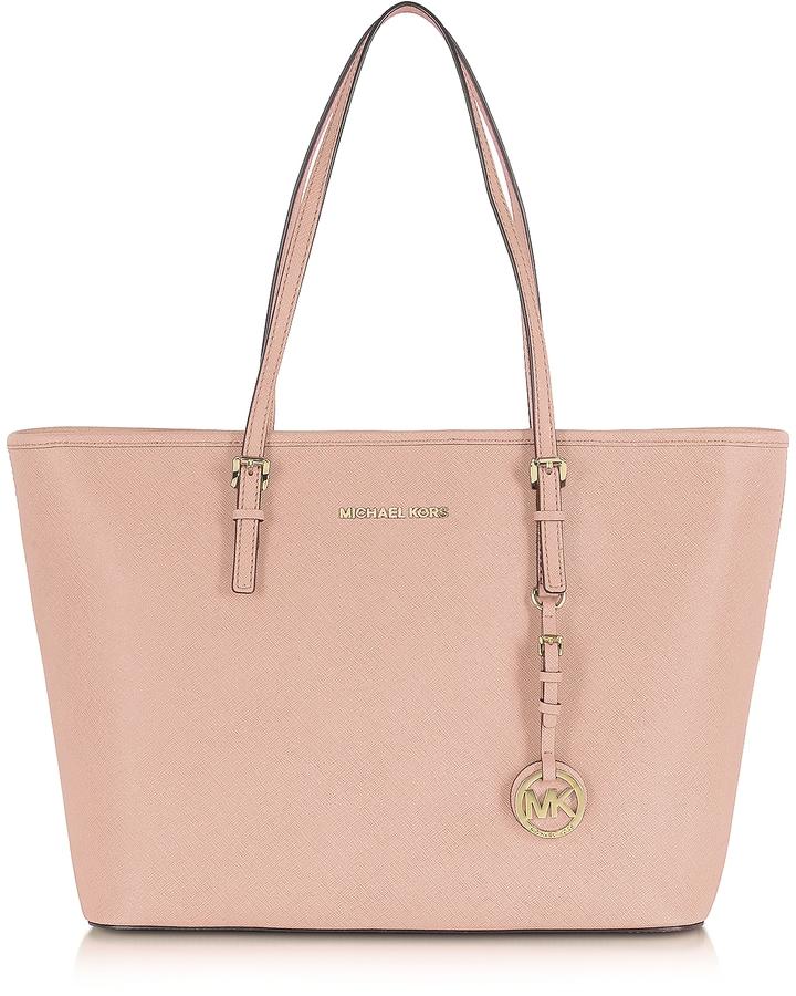 MICHAEL Michael KorsMichael Kors Jet Set Travel Soft Pink Saffiano Leather Top Zip Tote