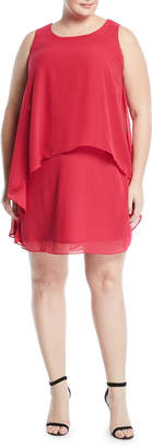 Neiman Marcus Tiered Chiffon Shift Dress, Plus size