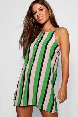 boohoo Petite Striped High Neck Shift Dress
