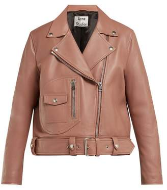 Acne Studios Merlyn Oversized Leather Biker Jacket - Womens - Nude