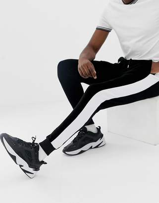 Asos DESIGN super skinny joggers in velour with side stripes