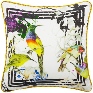 Roberto Cavalli Bird Ramage Silk Bed Cushion - White - 40x40cm