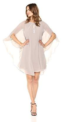 S.L. Fashions Women's Multi Chiffon Capelet Beaded High Neck Dress