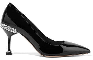 Miu Miu - Crystal-embellished Patent-leather Pumps - Black