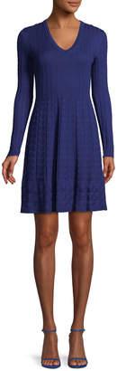 M Missoni V-Neck Solid Knit Dress