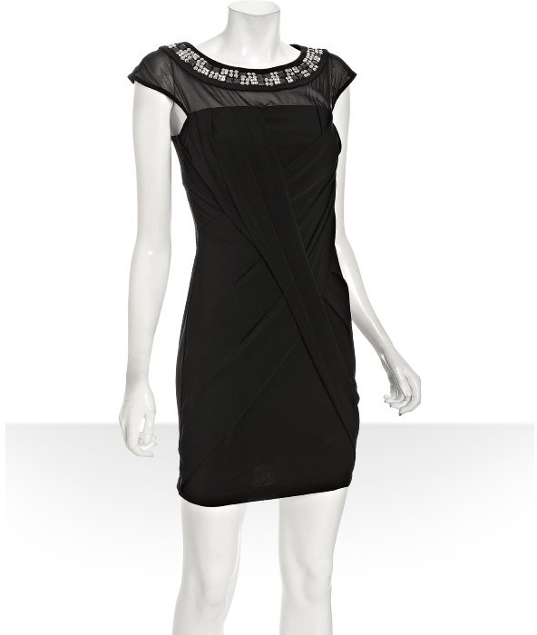 Julie Dillon jeweled neckline draped sheath dress