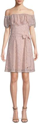 Julia Jordan Lace Off-The-Shoulder Mini Dress