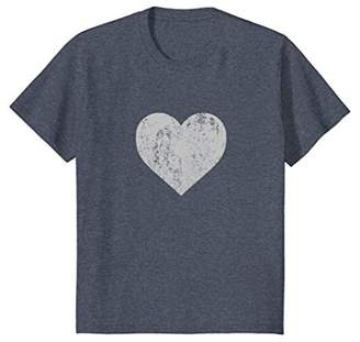 I Love You Silver Metallic Heart Distressed Emoticon T Shirt