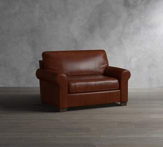Pottery Barn Buchanan Roll Arm Leather Twin Sleeper Sofa