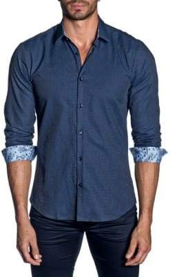 Jared Lang Woven Paisley Trim-Fit Button-Down Shirt