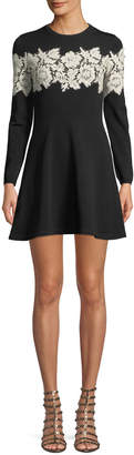 Valentino Crewneck Long-Sleeve Fit-and-Flare Sweaterdress w/ Lace Inset