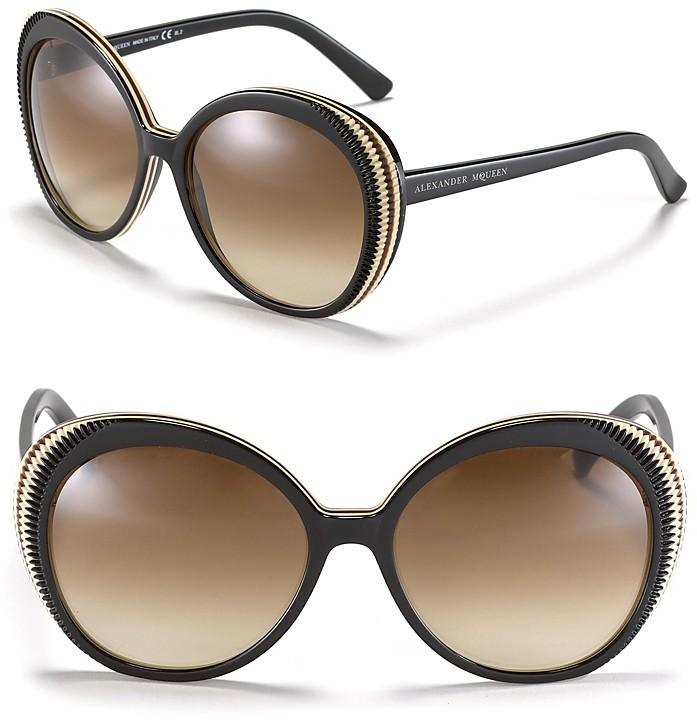 Alexander McQueen Round Etched Frame Sunglasses