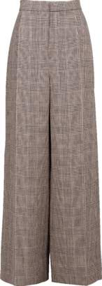 Brunello Cucinelli High Waist Prince of Wales Linen Pant