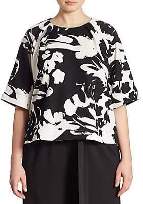 Joan Vass Women's Plus Floral-Print Blouse