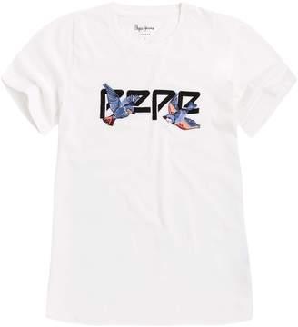 Pepe Jeans Bird Print Logo Cotton T-Shirt
