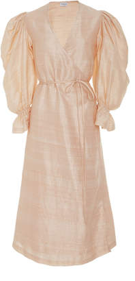 Rhode Resort Emilia Wrap-Effect Silk-Shantung Dress
