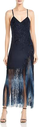 Haute Hippie Making Time Embroidered Fringed Silk Midi Dress