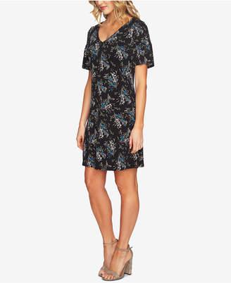 CeCe Printed Smocked Sleeve Dress
